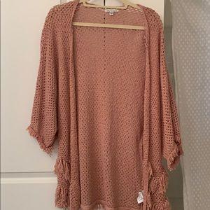 Pink kimono with fringe